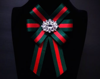 6e33d256849 Gucci Inspired Women s Bow Brooch - Female Bow Tie - Red Green Striped  Ribbon Pin Crystals - Mothers Day Birthday Gifts for Her