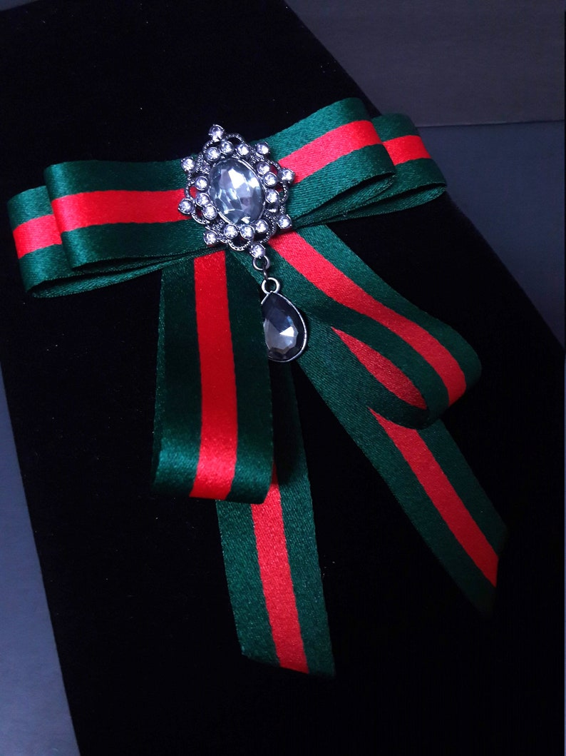c10d565f226 Gucci Inspired Womens Bow Brooch Female Bow Tie Red Green