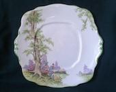 Royal Albert Crown China Greenwood Tree Cake Plate 1927 Art Deco Platter Vintage Bone China Transfer Ware Serving Plate with Embossed Rim