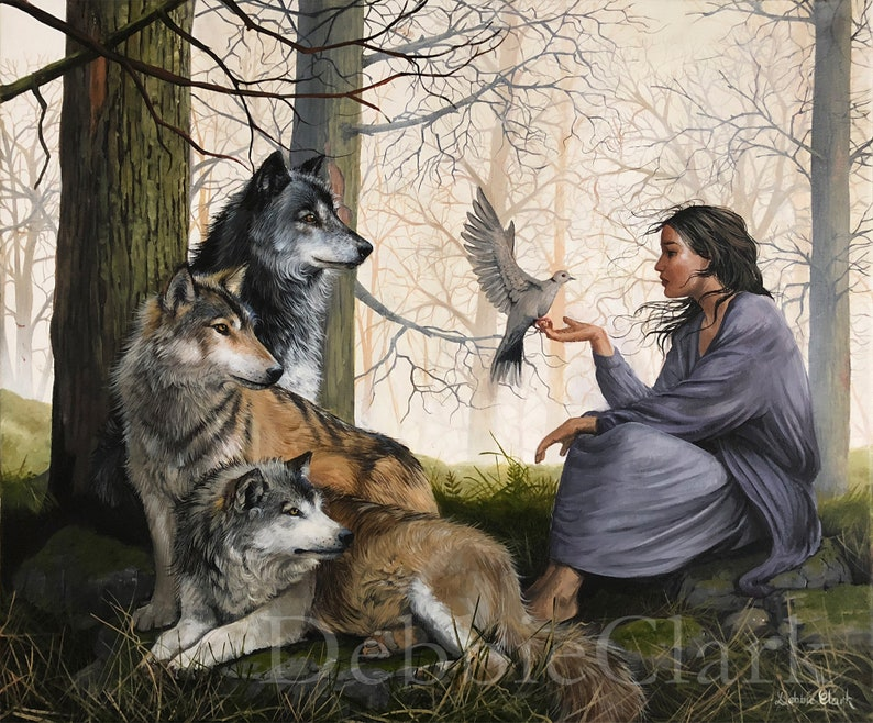 Wolf Art Print  Woman in the Midst of Wolves  Christian Art image 0