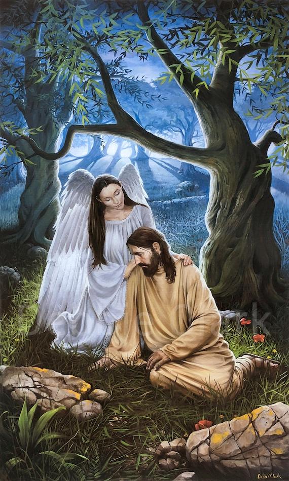 VINTAGE JESUS CHRIST ANGEL RELIGIOUS SPIRITUAL GETHSEMANE CANVAS ART PRINT BIG