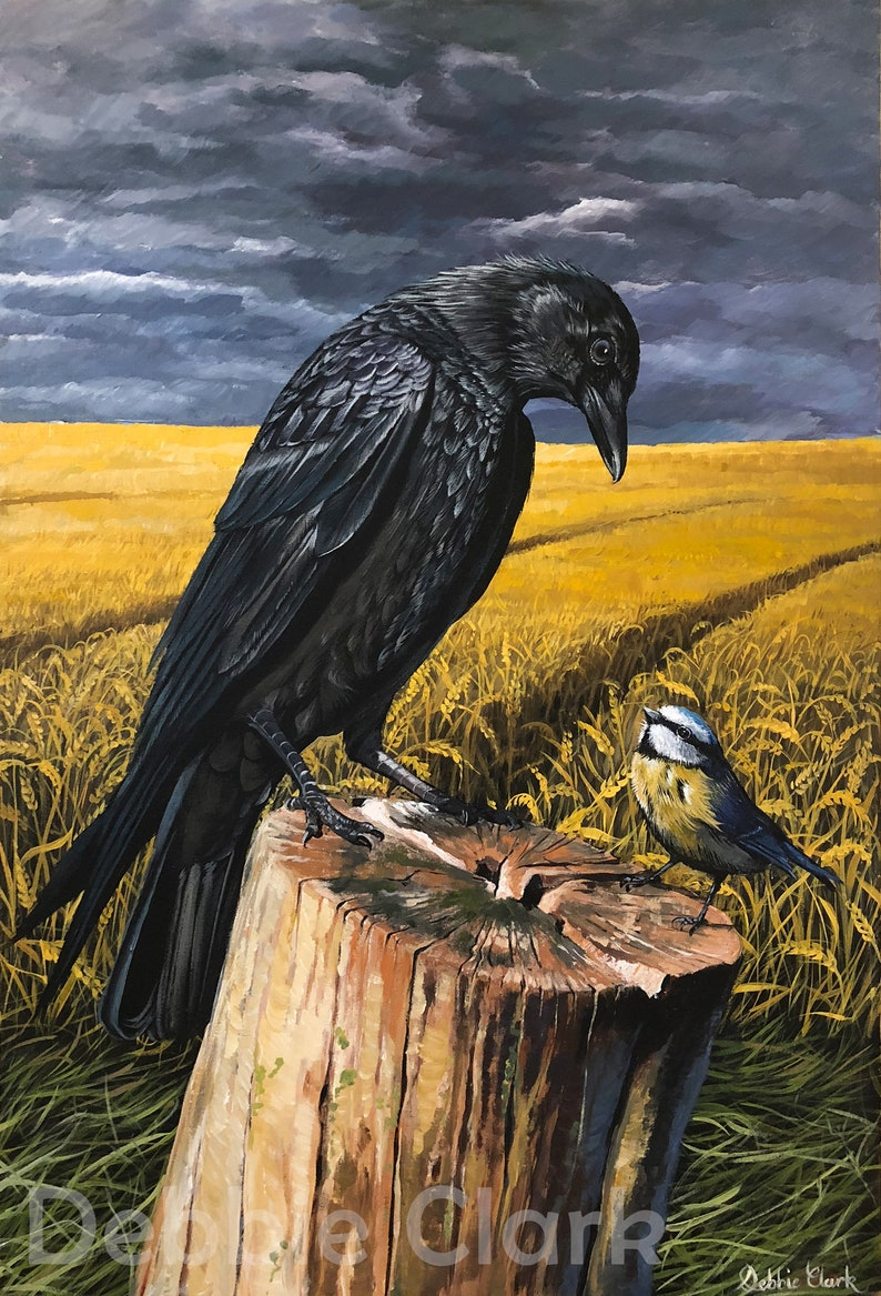 Raven and Blue Tit Wildlife Art Print on A2  Signed Limited image 0