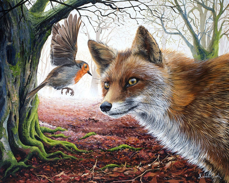 Fox and the Robin Art Print  Wildlife Art  Limited Edition image 0