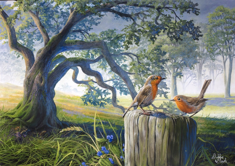 Robins by the Oak Tree Art Print  Wildlife Art  Limited image 0