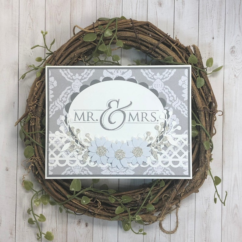 Handmade Wedding Card with Silver Glitter Accents