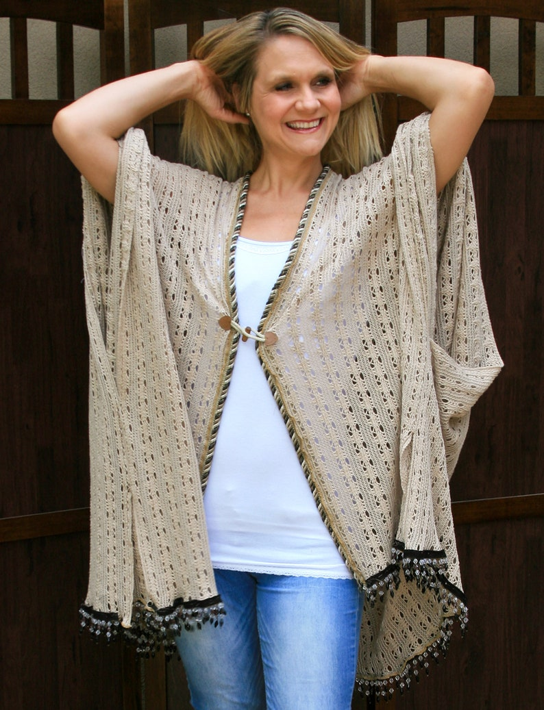 50610c2a22 Plus Size Sweater Wrap Oversize Kimono Wood & Leather | Etsy