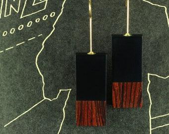 Wood Earrings Handwork, Exotic Wood Earrings, Contemporary Earrings, Avant-Garde Earrings