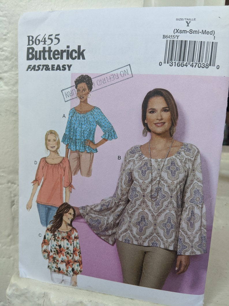 Fast Easy Butterick PatternButterick B6455 Sewing Pattern Misses Fast and Easy Loose Fitting Pullover Top Size XS to Medium