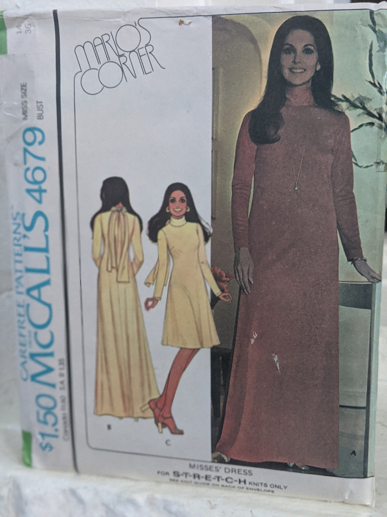 McCalls Pattern 4679 Marolo/'s Corner Misses Dress for Stretch knits Only Size 14 Marlo Thomas Dress Pattern from 1975 Carefree Patterns