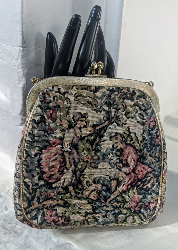 Vintage JR Miami Tapestry Purse with Gold Strap Vi