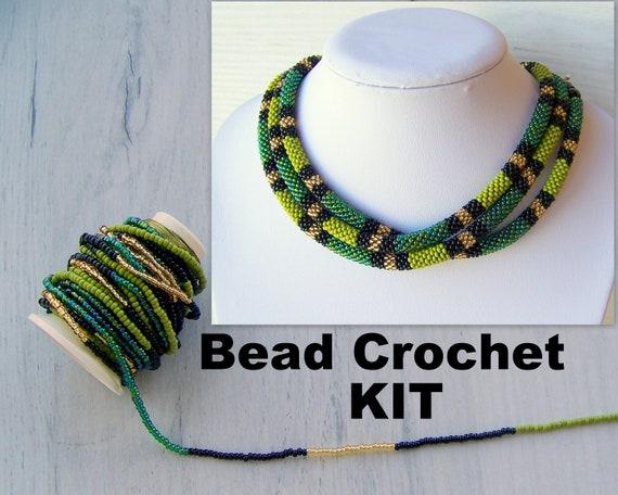 Perle häkeln Halskette Kit Schmuckherstellung Kit grüne   Etsy