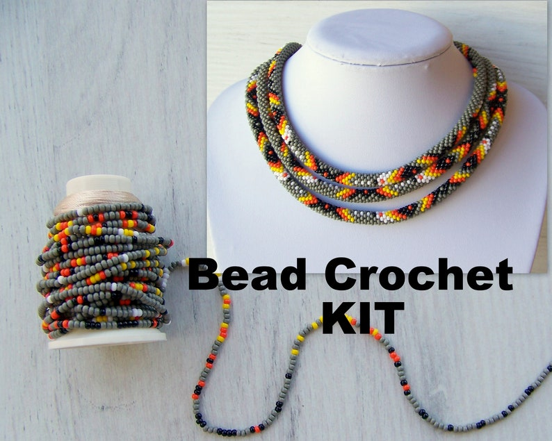 87fa81dba5d3e Native American Style Necklace Kit - Jewelry Making Kit - Bead Crochet Long  Necklace Kit - DIY Crafts DIY Kit for Adults - Seed Beads Kit