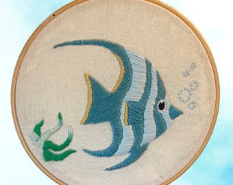 "Tropical fish 6"" embroidery hoop art"