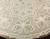 Vintage Crochet Pattern Table Cloth Star and Butterflies Filet Round Tablecloth Pattern B156