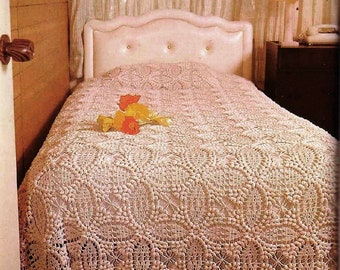 needs repairs  large double Vintage crochet bed cover with intertwined floral design queen ivory crochet cover king bed cover  beige