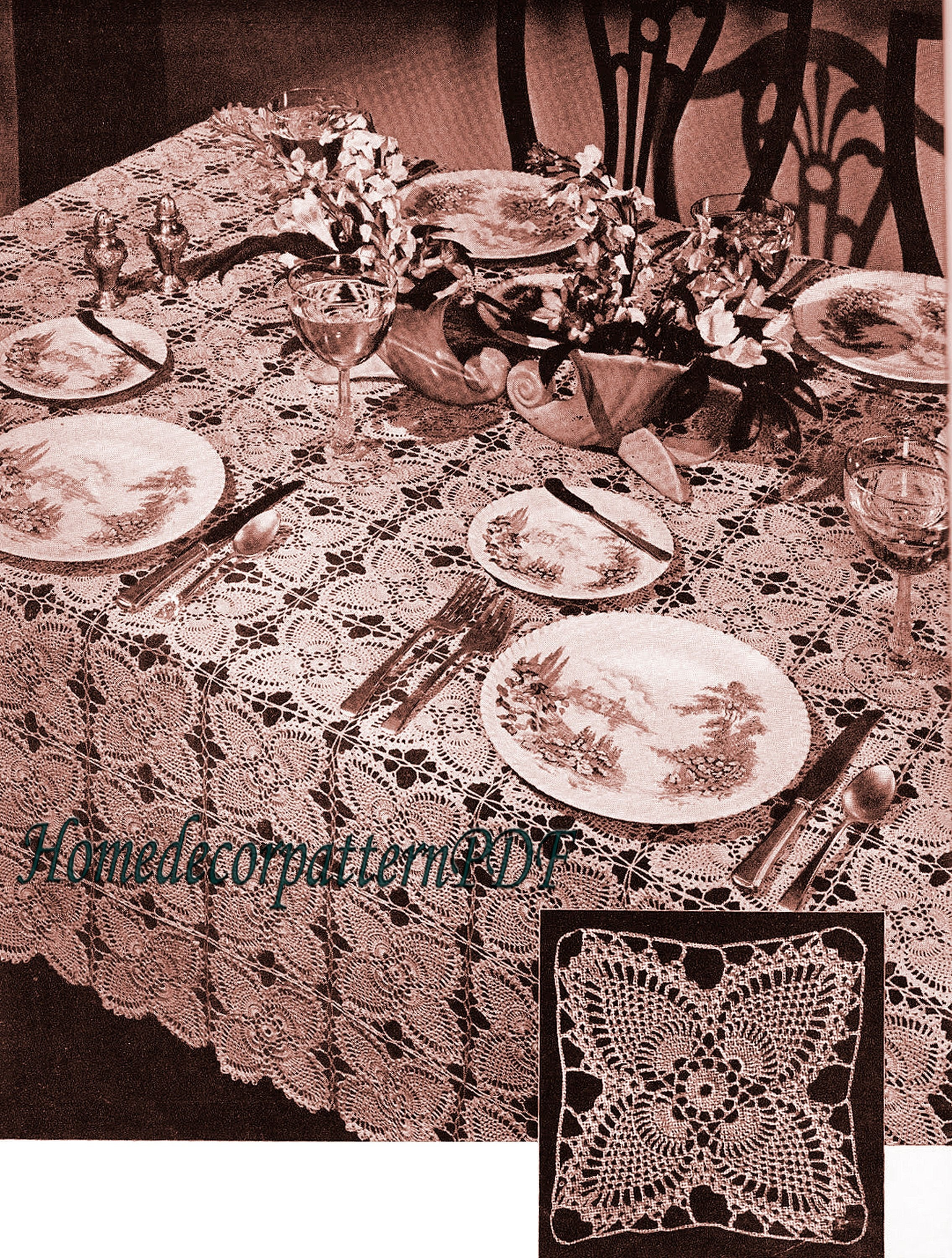 Vintage Round Pineapple Crochet Motif Tablecloth Pattern PATTERN ONLY