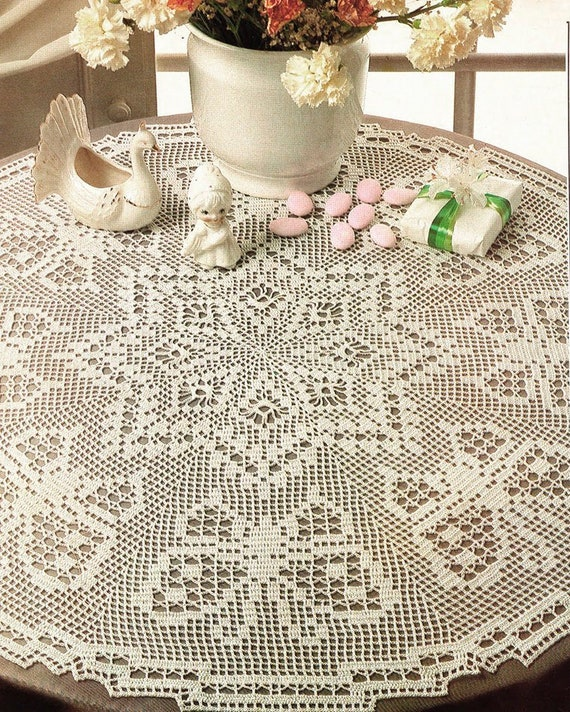 Motif Instant Pdf  Digital Download Table cloth for the home VINTAGE CROCHET PATTERN Cotton Thread Gift to make Rectangle Table cloth