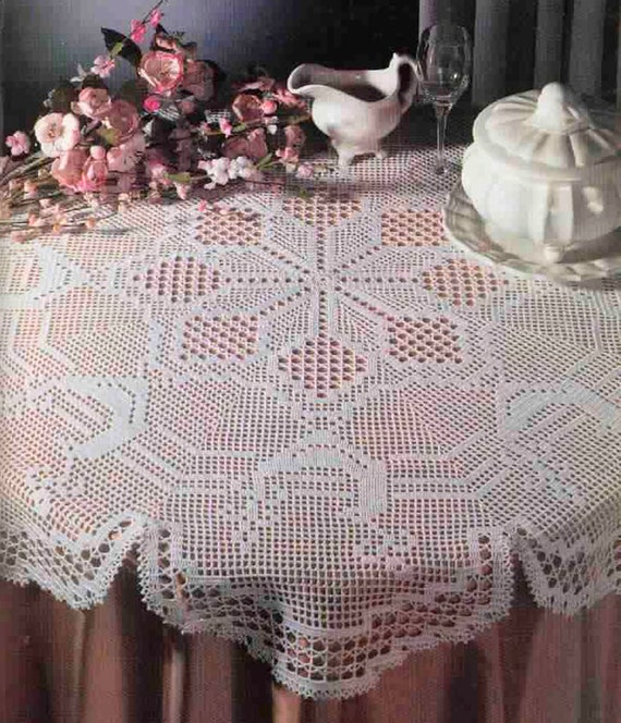 Crochet Filet Circular Tablecloth For Holidays/ Instant PDF | Etsy