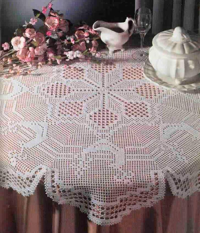 Crochet Filet Circular Tablecloth For Holidays Instant Pdf Etsy