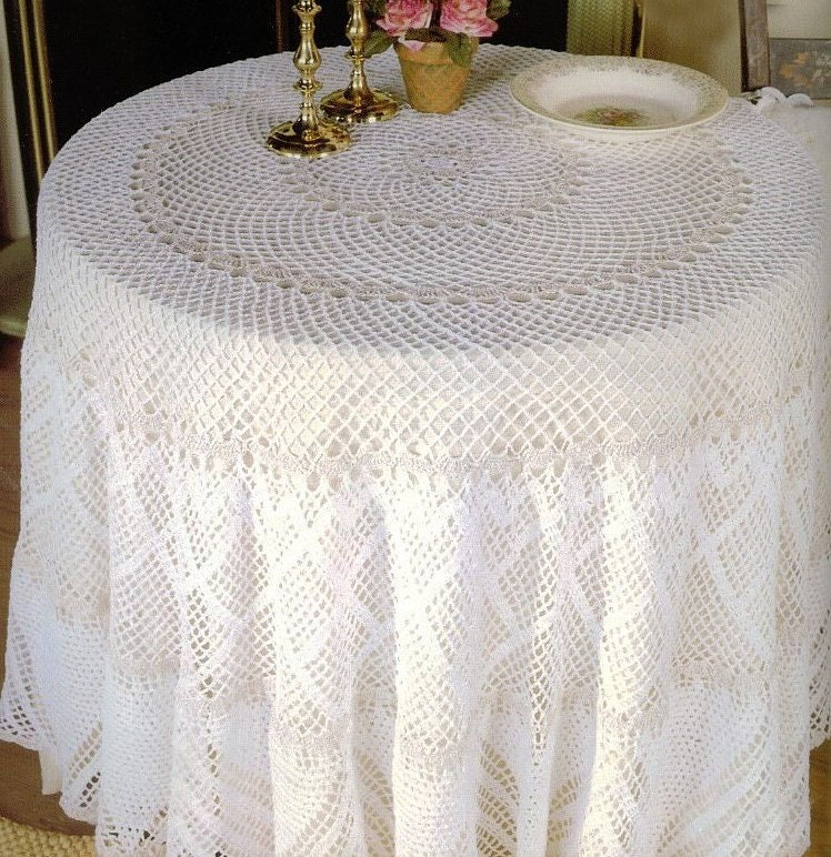 Round Tablecloth Crochet Pattern Home Dcor Filet Lace Cotton Etsy