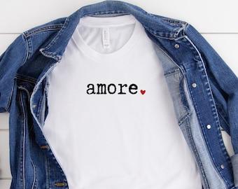 Amore Shirt, Love In Italian Shirt, Italian Tshirt, One Word Shirt, Word Shirts, Mother's Day Gift, Womens Clothing Tshirt
