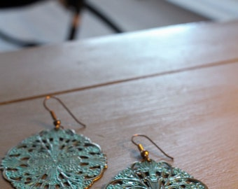 Turquoise Brass Statement Earrings
