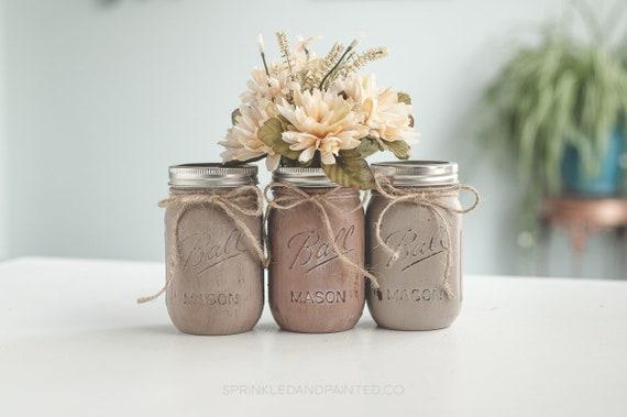 Shades Of Brown Distressed Painted Mason Jar Vases Fall Etsy