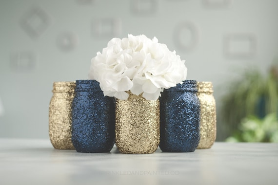 6 Navy Blue And Gold Glitter Vase Wedding Centerpieces Etsy