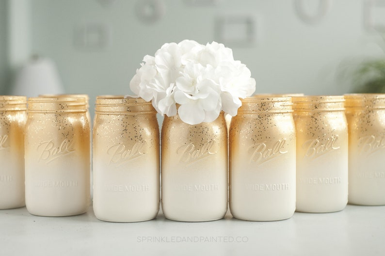 Sensational 6 Rose Gold And Ivory Ombre Centerpiece Vase Rose Gold Home Decor Glitter Mason Jars Home Decor Rose Gold Wedding Decor Download Free Architecture Designs Scobabritishbridgeorg