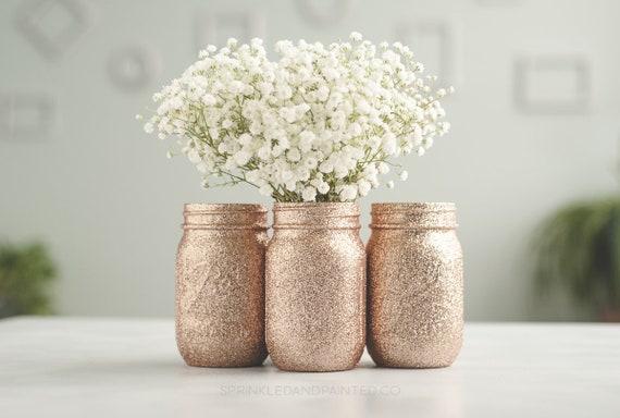 Rose Gold Wedding Decor Set Of 3 Rose Gold Glitter Vases Etsy