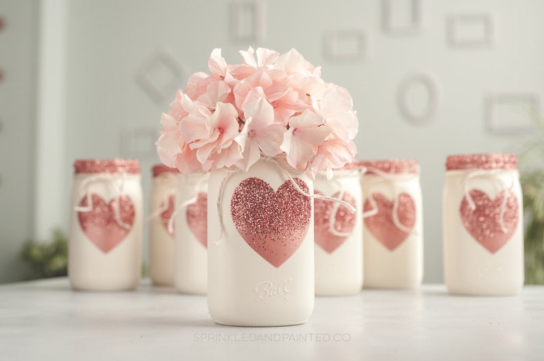 One Rose Gold Heart Painted Mason Jar Decor Vase Centerpiece, Valentines  Day Decor, Rose Gold Glitter Heart