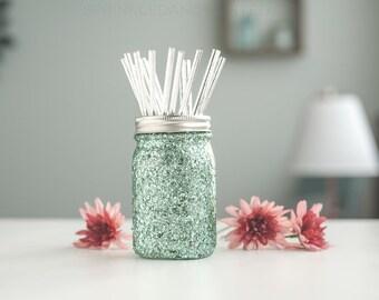 Aqua Glitter Vase, Makeup Brush Holder