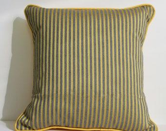 Yellow and grey striped Cushion cover MAYA