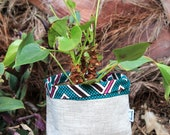 Flower pot of WAX and linen quot Konongo quot fabrics