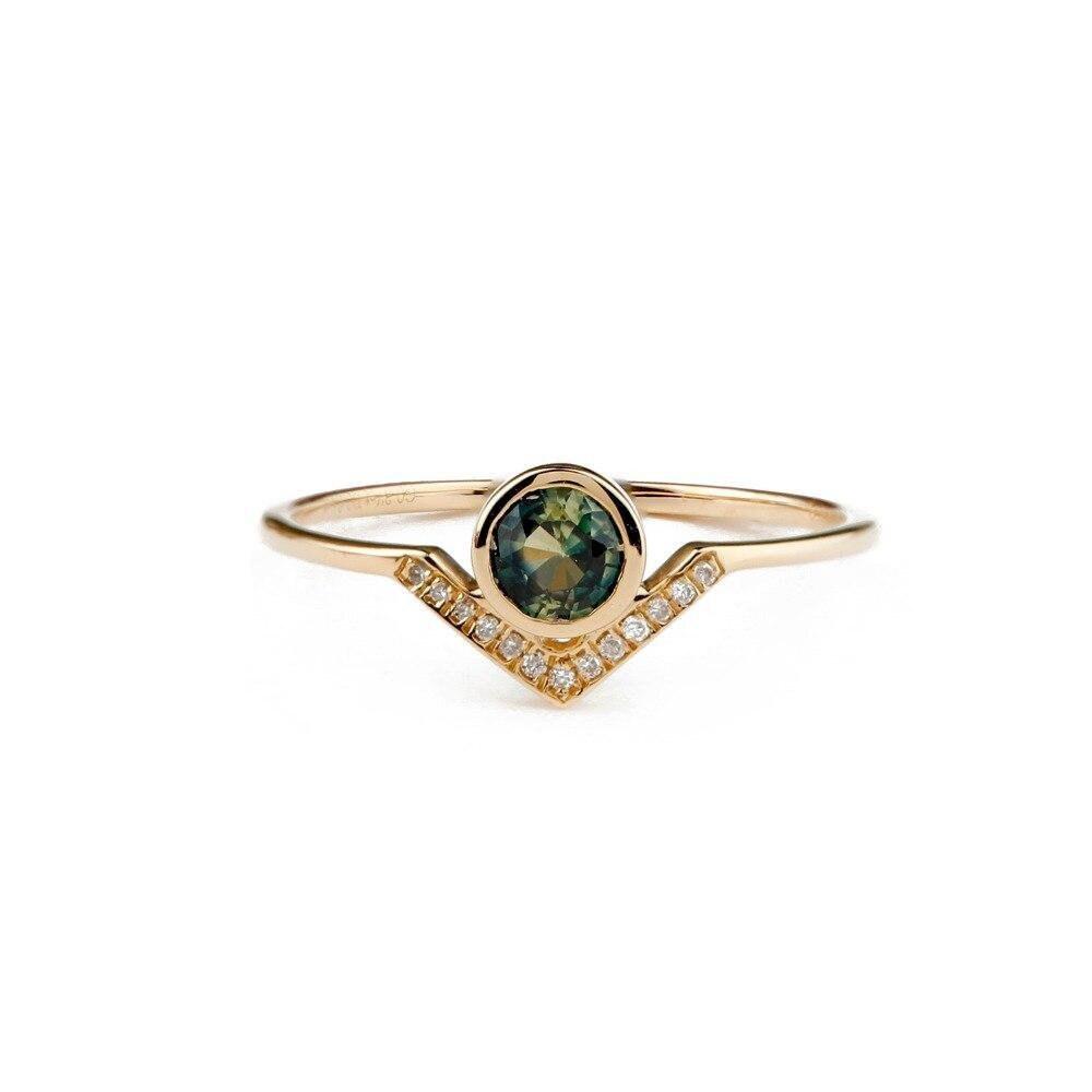 Saffron Natural Green Sapphire Engagement Ring Round Cut image 0