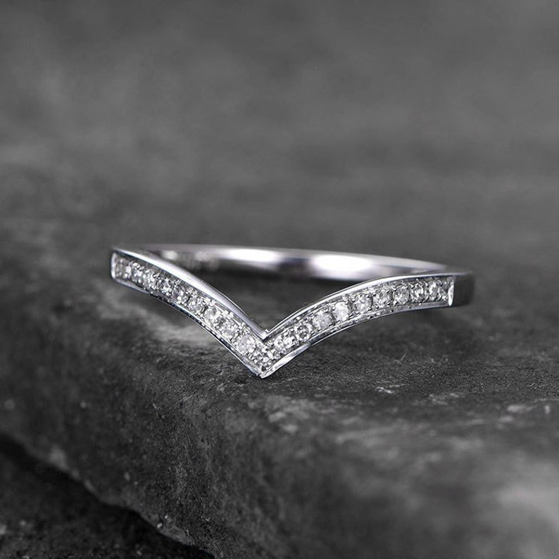 Pear Shaped Stacker Stacker Ring Wishbone Chevron Birthday Maxine Wedding Band Sterling Silver Anniversary Promise Ring