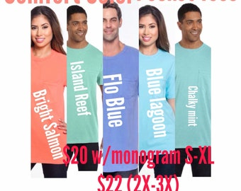 Customized Comfort Color Pocket Tees