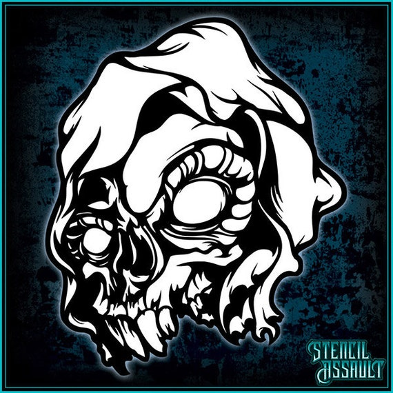 Skull #9 Airbrush Stencil Template