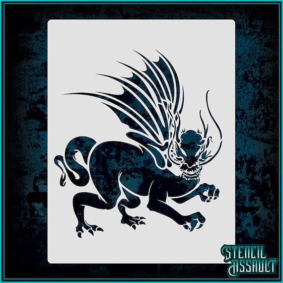 dragon 12 airbrush stencil template etsy