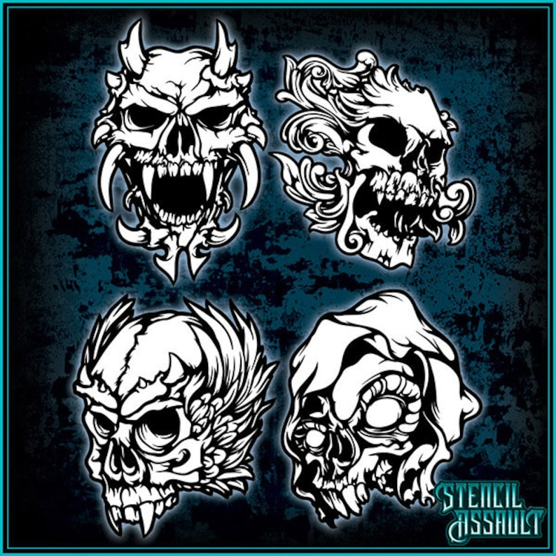 Mini Skull Set #2 Airbrush Stencil Template