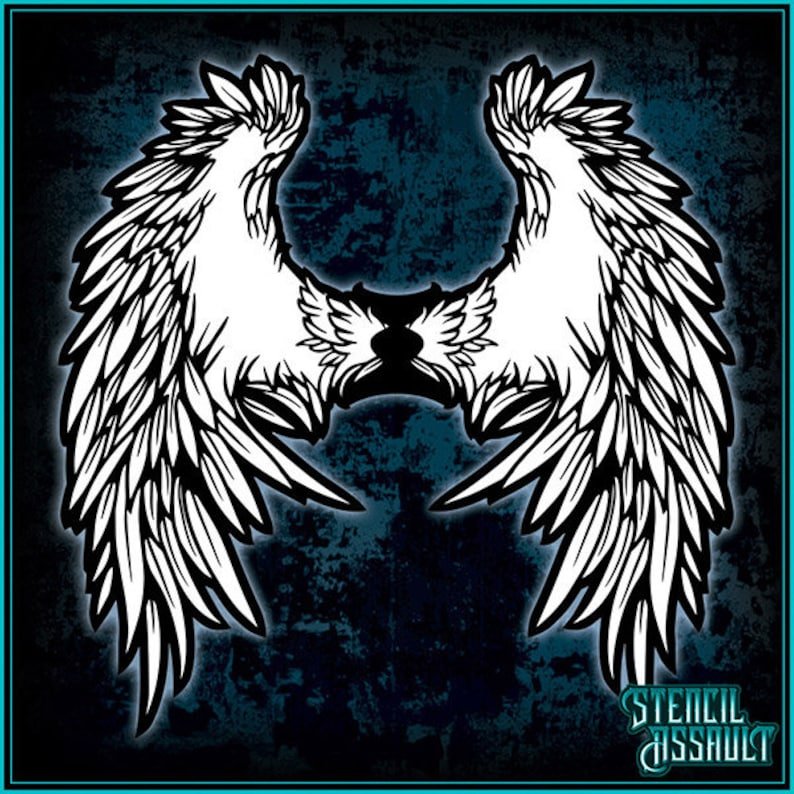 Wings #7 Airbrush Stencil Template