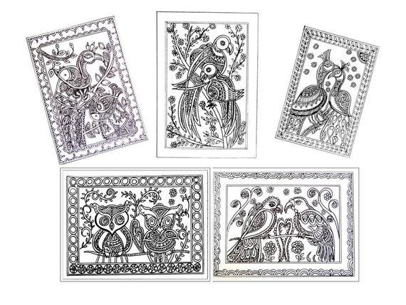 Set of 5 Birds Folk Art Coloring Pages 5 Pack, Owl, Eagle, Peacock, Love Birds Coloring Book, Printable Digital Artwork, Instant Download