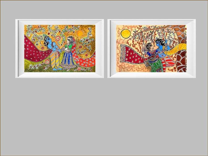 Radha Krishna Love Set 2 Printable Digital Download Fine Art Madhubani Mithila Painting Hindu God Mythology Large Print Indian Wall Decor