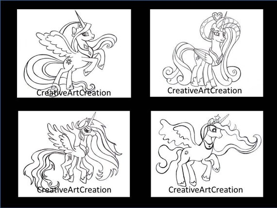 - 4 Pack My Little Pony Coloring Pages Book Cadence Princess Etsy