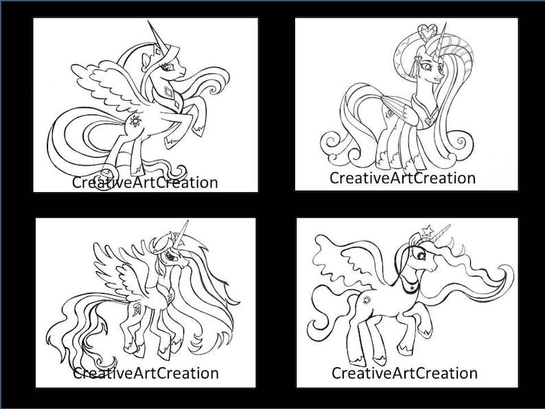 Coloriage Princesse Twilight Sparkle.4 Pack My Little Pony Coloriage Pages Livre Cadence Princesse Etsy