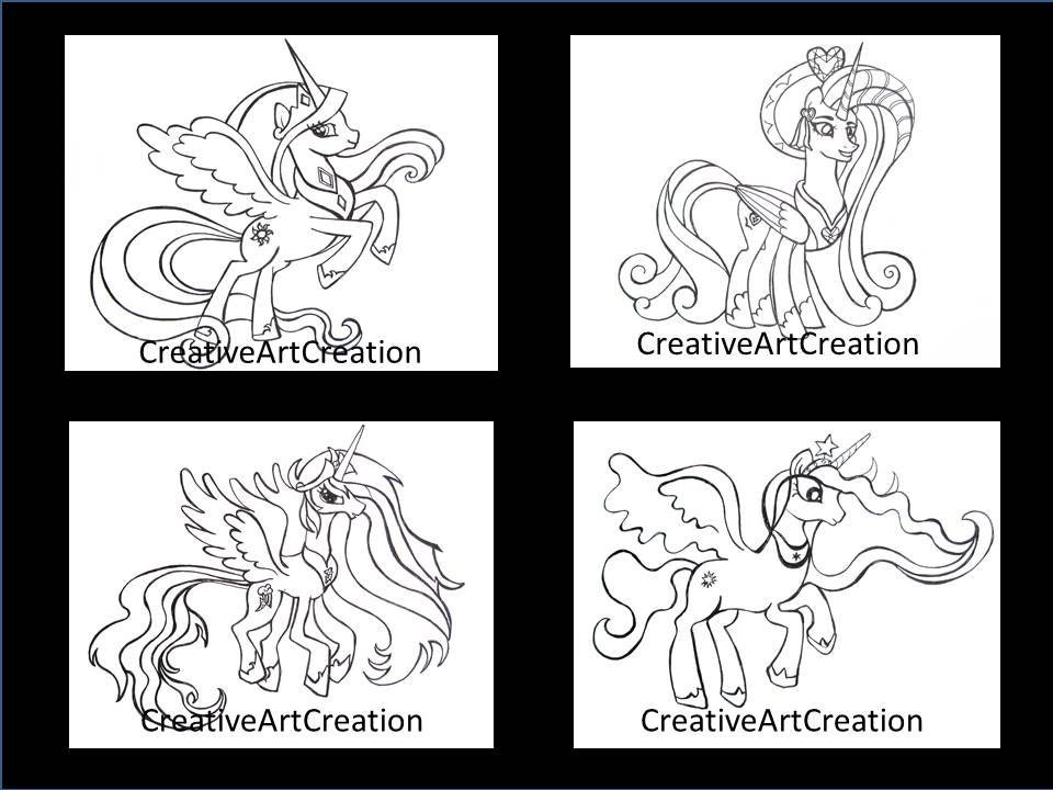 4 Pack My Little Pony Coloring Pages Book Cadence Princess Etsy