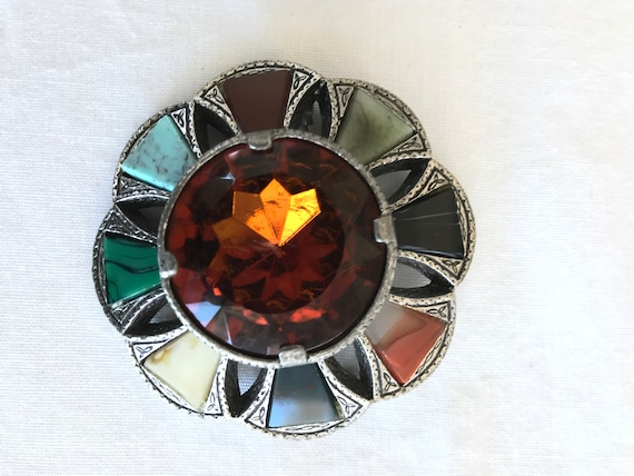 MIRACLE Glass Celtic Round Brooch /& Pendant Collectable 1960s Vintage Agate Style