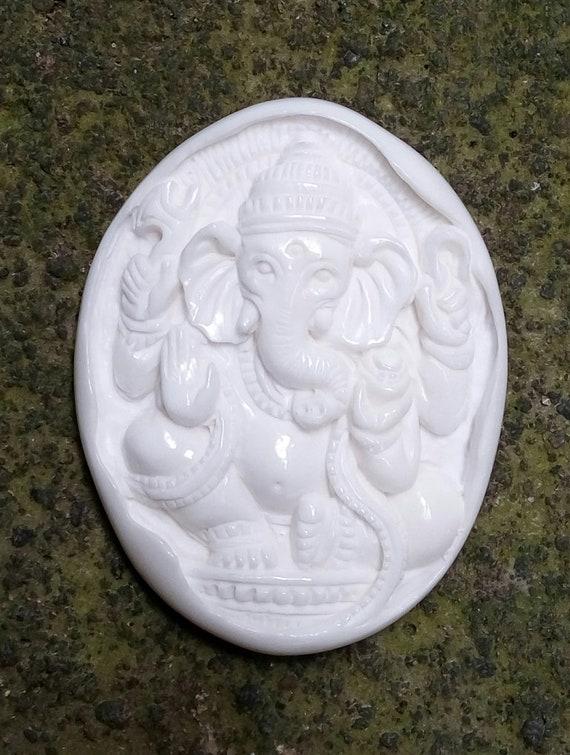 Carved Ganeshabuffalo Bone Carving Jewelry Making Necklace Etsy