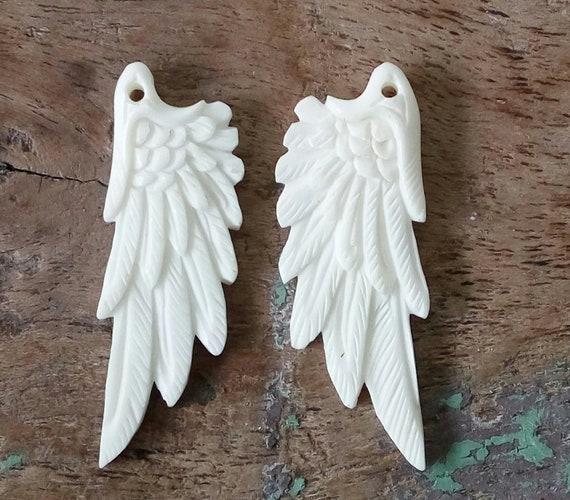 Set Wing Adorable Carved Buffalo Bone,Jewelry Making E254