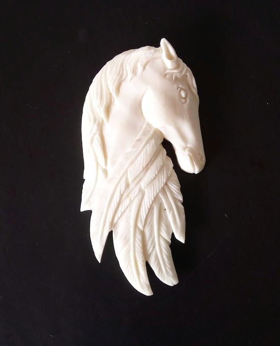 Carved Horsebuffalo Bone Carving Horse Pendanthorse Etsy